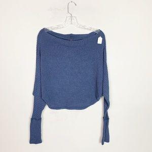 Free People dusty blue knit long sleeve crop top S